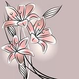 Background with stylized pastel lilies