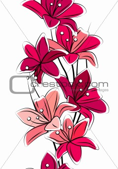 Seamless vertical border with red lilies