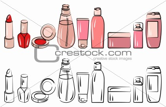 Set with various cosmetics.