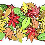 Seamless horizontal border with autumn leaves