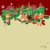 Christmas greeting card with gold bells