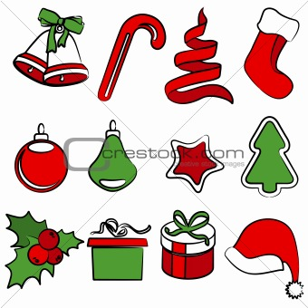 Collection of traditional Christmas icons