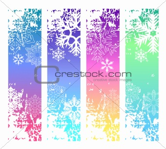Four abstract  winter banners with snowflakes