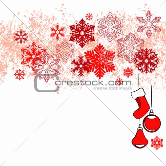 Christmas card with red snowflakes