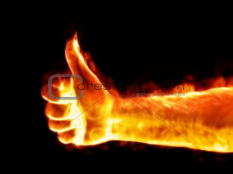 thumb up on fire