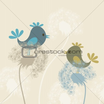 Bird on a dandelion