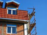 Scaffolding on building corner