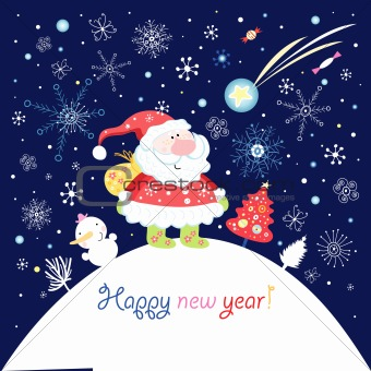 greeting card with Santa Claus