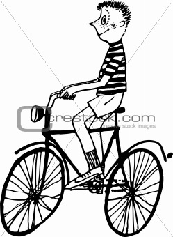 Boy riding the bicycle