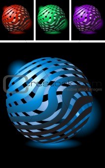 Abstract symbol made of glossy stripes