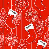Seamless Christmas pattern with hanging Santa socks