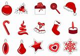 Collection of different stylized Christmas symbols
