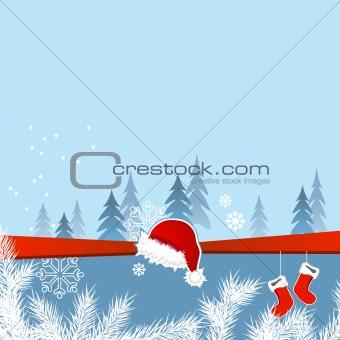 Blue Christmas greeting card with Santa socks