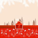 Red Christmas card with hanging santa socks