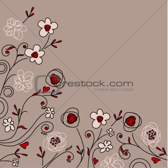 Pastel background with contour flowers