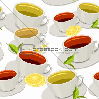 Seamless pattern with different cups of tea