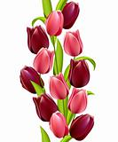 Vertical seamless pattern made of tulips