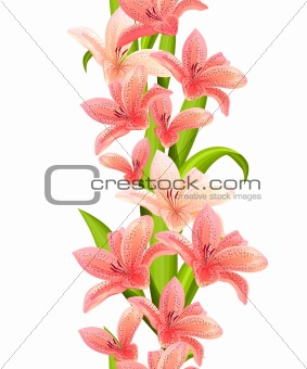Vertical seamless pattern made of lilies