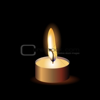 Small burning candle on black