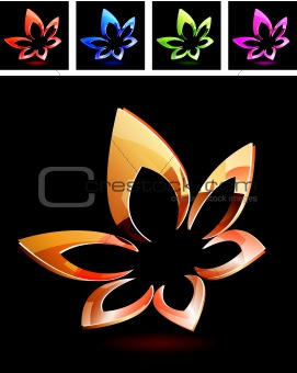 Abstract metal floral symbol on black background.