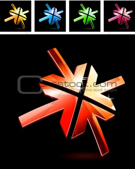 Abstract metal symbol with arrows on black background.