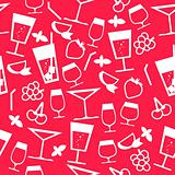 Seamless red pattern with different stylized cocktails