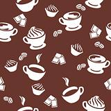 Seamless pattern with different cups of coffee