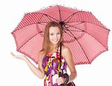 Cheerful girl under umbrella