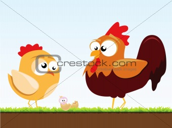 a chicken and a rooster
