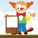 a clown holding a signboard