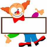 a clown holding a signboard