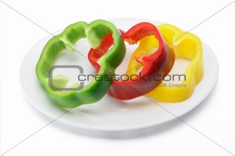 Slices of Capsicum on Plate
