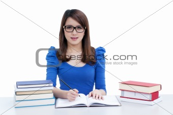 Casual female student studying