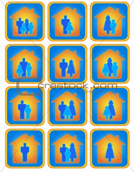 set of family buttons