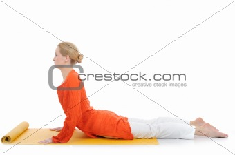 series or yoga photos. young woman in cobra pose