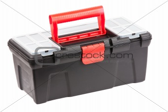 Red and black plastic toolbox