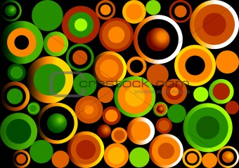 Green Orange Retro Circle