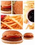 Collage of burger and french fry