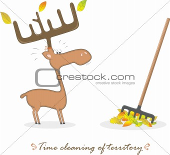 Funny elk and rake, vector illustration