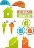 Icons and stickers for real estate, vector illustration