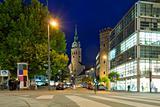 Night street and church