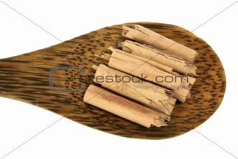 Cinnamon Sticks on Wooden Spoon