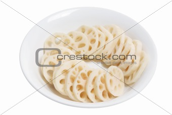 Slices of Lotus Root in Bowl
