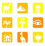 Egypt icons and design elements block isolated on white ( yellow
