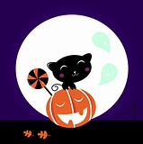 Cute Black Cat, Pumpkin head and sweet Lollipop