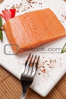 Fresh Salmon on white square dish
