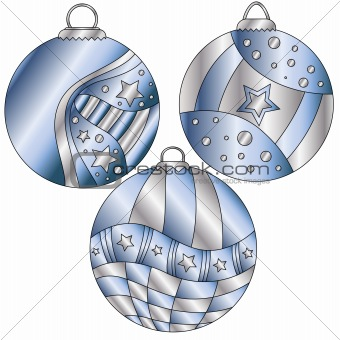 Blue and silver Christmas bauble collection