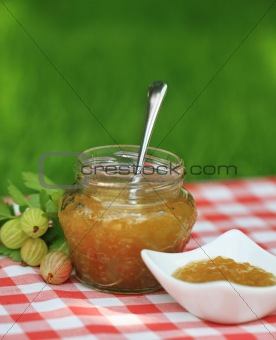 Jar of gooseberry  jam