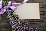 Fresh lavender over wooden background