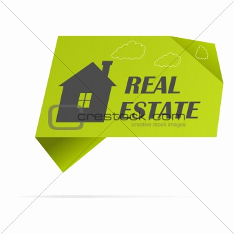 Green paper sticker with home, vector illustration